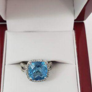 Cushion cut Blue Topaz w/ Diamond accent ring SZ 5